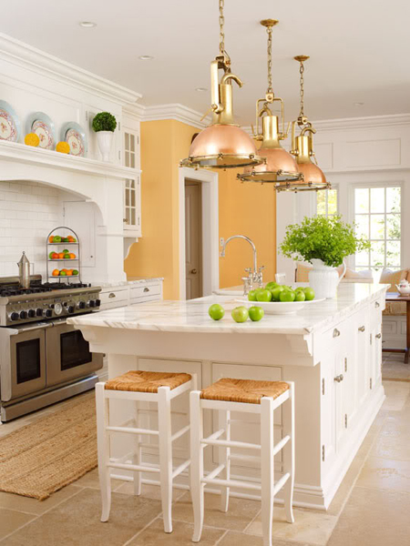 All-white kitchen island would look less massive then some dark counterparts.