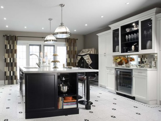 The easiest way to design a black and white kitchen island is to use black cabinets with white marble countertop.