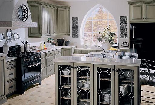 You can use tall cabinets with glass doors if you want to separate your dining area from a cooking area.