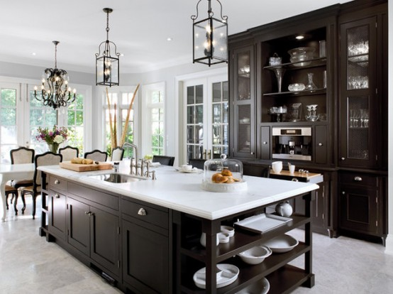 125 awesome kitchen island design ideas digsdigs for Dark kitchen cabinets light island