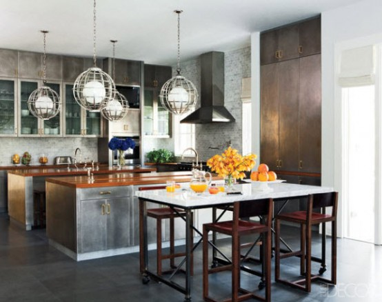 Stainless steel is also a way to go designing a kitchen island.