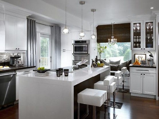 Ultra modern kitchen island should definitely be glossy. If it's also white  it's even better
