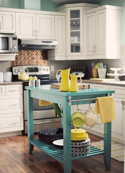 This is what could make an interior of any kitchen more fun. A colorful island without storage cabinets would work even on small kitchens.
