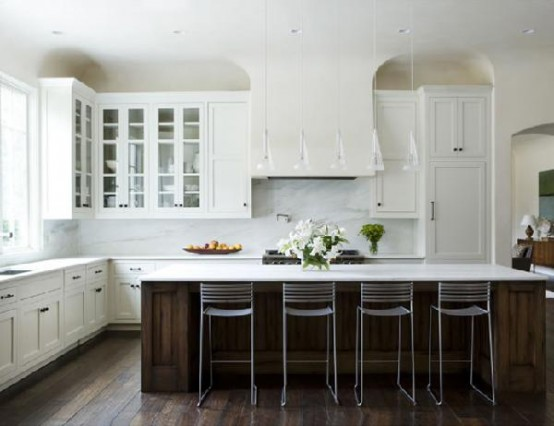 Long kitchen islands provide lots of space for eating. Great for large family breakfasts!