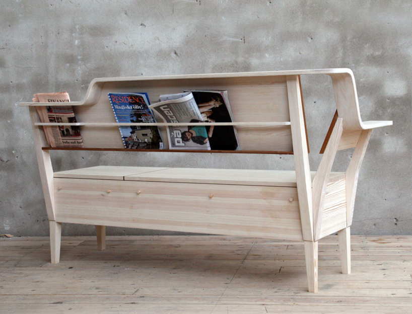 Contemporary Kitchen Sofa With Books And Magazines Storage On The Back