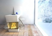 Kitchen Table Combined With A Fireplace
