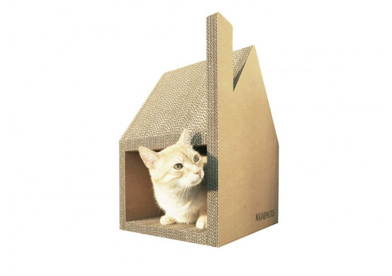 Krabhuis Cardboard House For Cats To Scratch