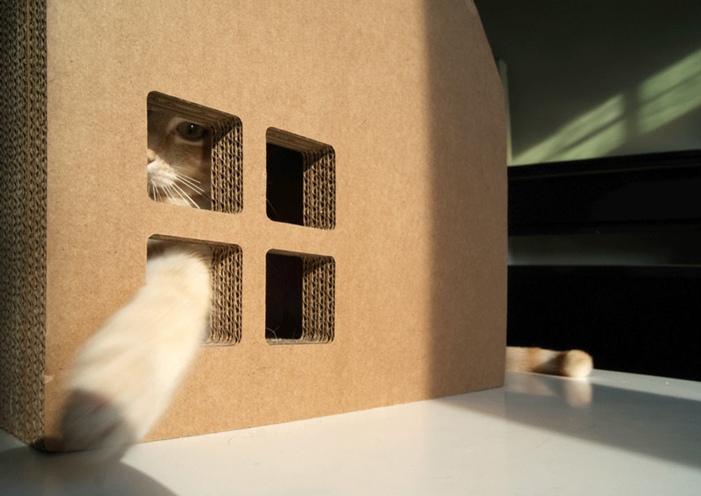 Krabhuis Cardboard House For Cats To Scratch Digsdigs