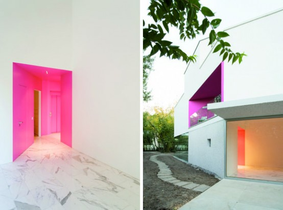 L House – White House with Pink Accent