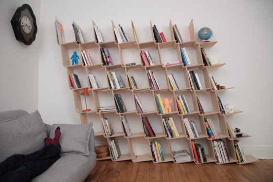 L Shelf System Made From Simple Bent Plywood Pieces