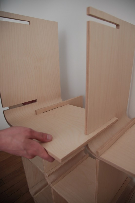 L Shelf System Made From Simple Bent Wood Pieces