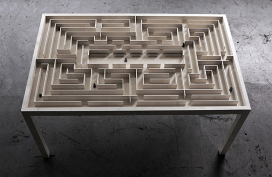 Labyrinth Dining Table With A 3d Maze Under The Top