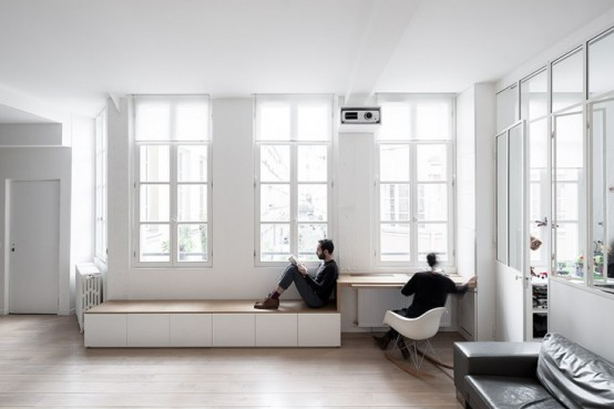 Laconic And Functional Paris Loft With Built In Storage