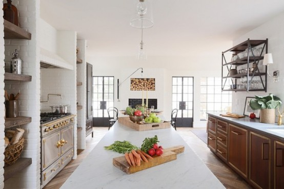 Large Eat-In Kitchen With Classic French Range And Industrial Accents