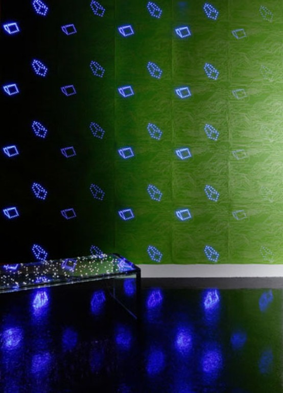 Led Wallpaper With Computer Chips Pattern