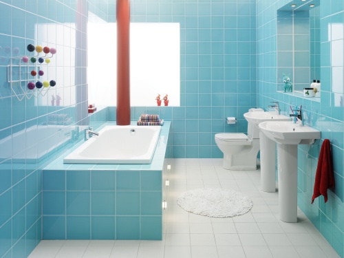 43 bright and colorful bathroom design ideas digsdigs for Bathroom ideas light blue