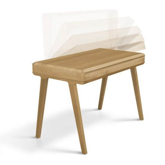 Light Fino Secreatery Desk Of Solid Wood