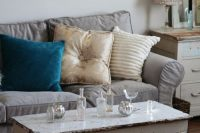 light grey Ektorp slipcover for a shabby chic living room