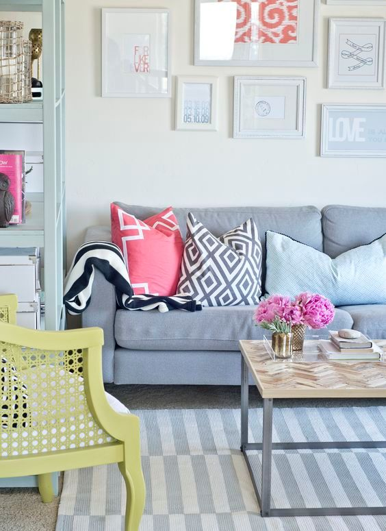 light grey Stockhold rug for a colorful living room