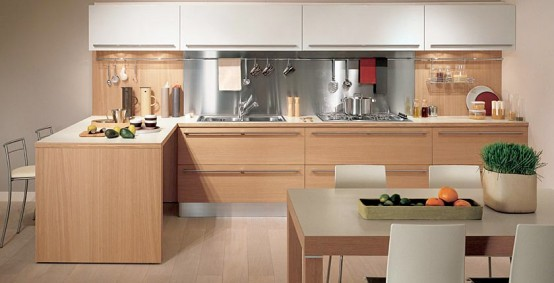 Light oak wooden kitchen sistema zeta