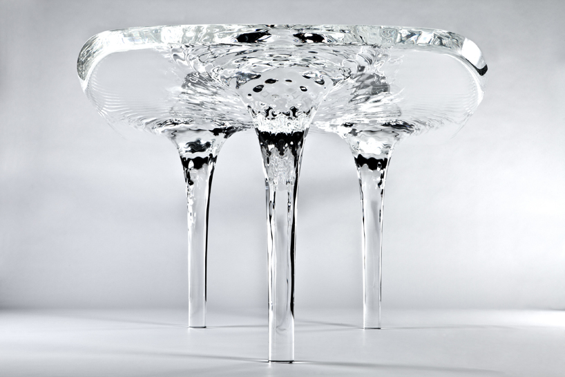 Liquid Glacial Table With A Delicate Pattern