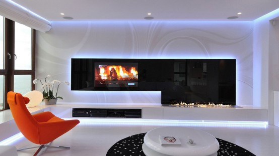 lively minimalist apartment design with orange accents - Minimalist Apartment Design