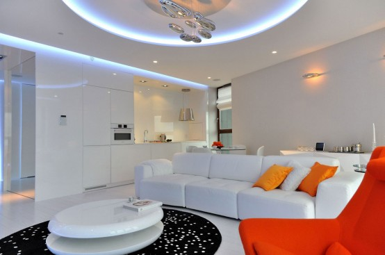 Lively Minimalist Apartment Design With Orange Accents