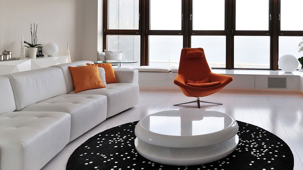 Lively Minimalist Apartment Design With Orange Accents | DigsDigs