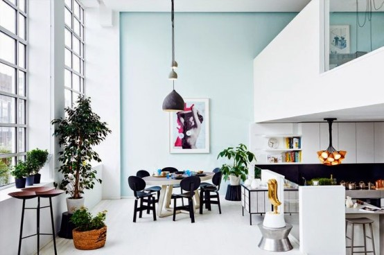 Lively Modern Loft With Pastels In Decor