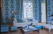 Livign Room In Blue Colors