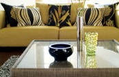 Living Room In Mustard Yellow And Black