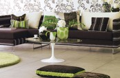 Living Room In Natura Brown And Green Tones