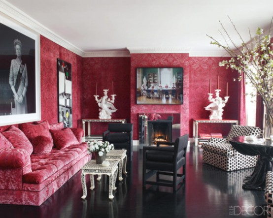 Living Room Upholstered In A Velvet