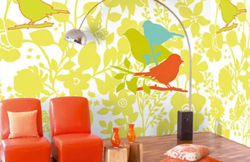 111 bright and colorful living room design ideas digsdigs for Bright wallpaper for living room