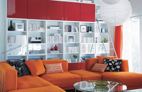 Living Room With Colorful Storage System And Sofa