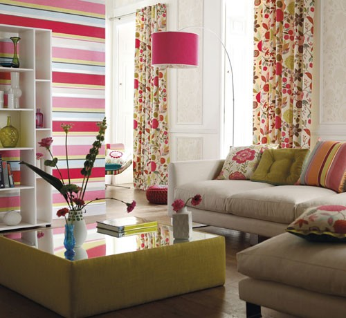 Living Room With Colorful Stripes And Flowers