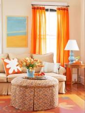 Living Room With Orange Color Burst