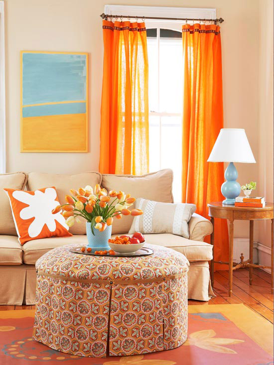 Living Room With Orange Color Burst
