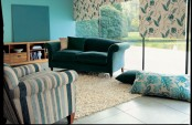 Living Room With Plain But Colorful Walls And Fabrics