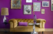Living Room With Purple Walls
