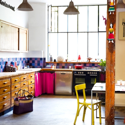 Loft Kitchen With Colorful Accents