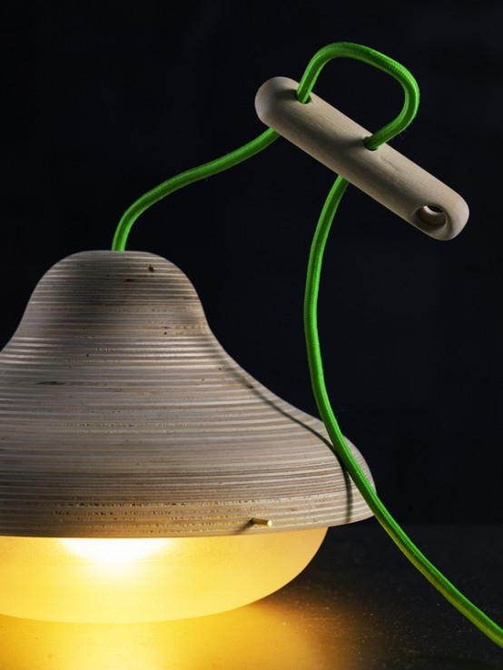 Log Lamp With Bright Green Cord
