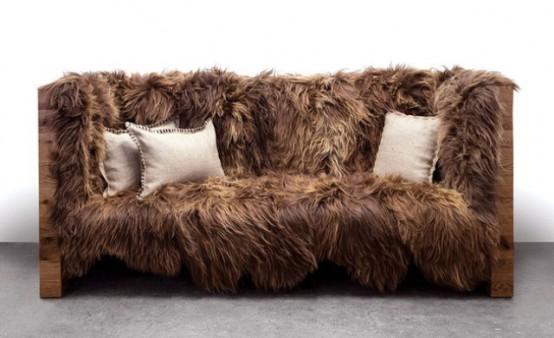 Long Wool Icelandic Sheepskin And Coyote Hide Furniture