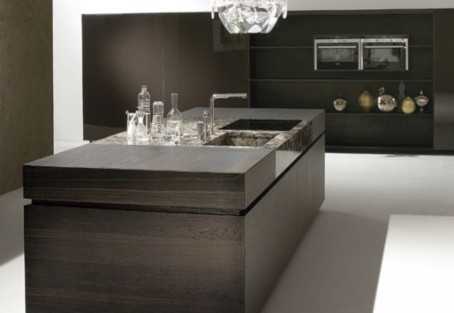 Luxurious Kitchen Of Dark Wood And Emperor Marble