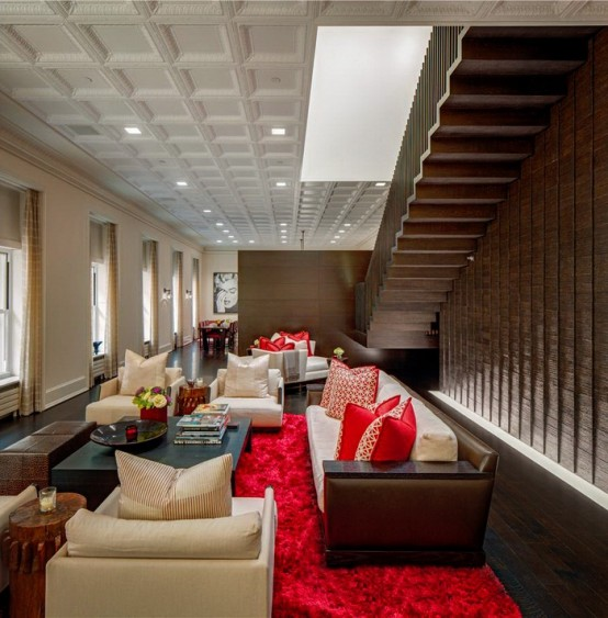 Luxurious Penthouse With Bright Red Accents