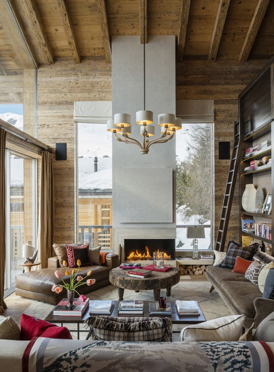 Luxurious Swiss Chalet With Lots Of Wood And Stone Digsdigs