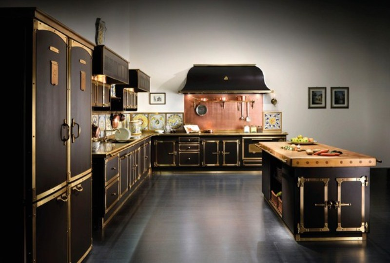 Luxurious vintage style kitchen in coffee and gold colors for Vintage kitchen designs photos