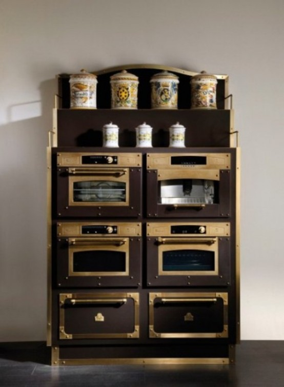 Luxurious Vintage Style Kitchen In Coffee And Gold Colors