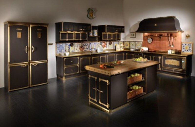 Luxurious Vintage Style Kitchen In Coffee And Gold Colors by Restart