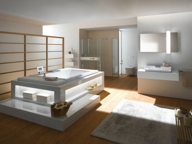 Luxury bathroom collection in minimalist style by toto digsdigs Salle de bain baignoire rose